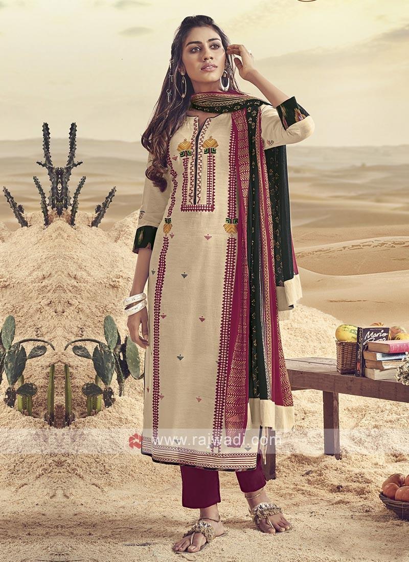 Shagufta Cream And Maroon Cotton Pant Salwar Suit