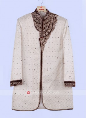 Cream And Maroon Grooms Sherwani