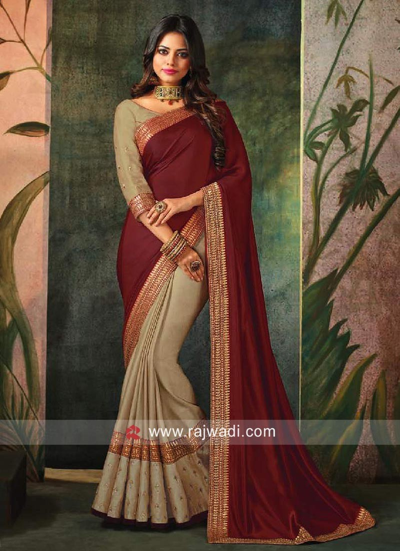 Cream and Maroon Half n Half Saree