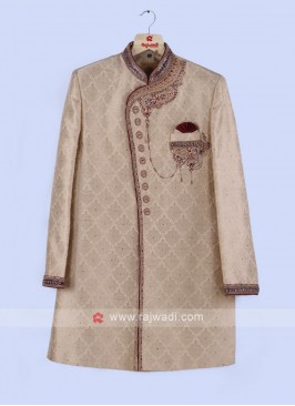 Cream And Maroon Sherwani