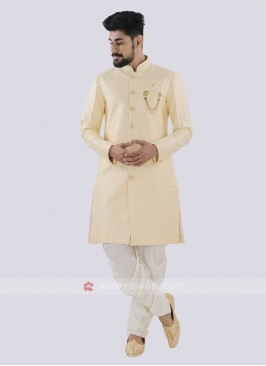 Cream And Off White Patiala Suit