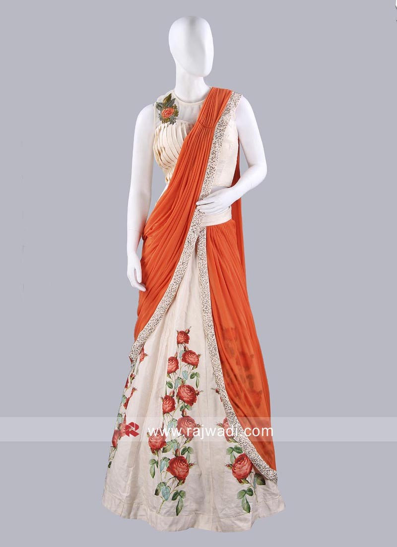 Cream and Orange Lehenga Saree