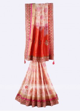 Cream and orange pure silk saree