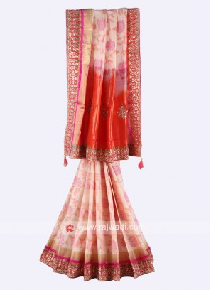 Cream and orange pure silk saree