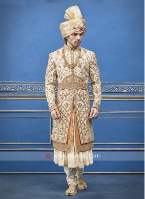Cream and Orange Silk  Sherwani For Groom