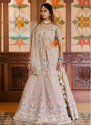 Cream and Pink Color Lehenga Choli For Bride