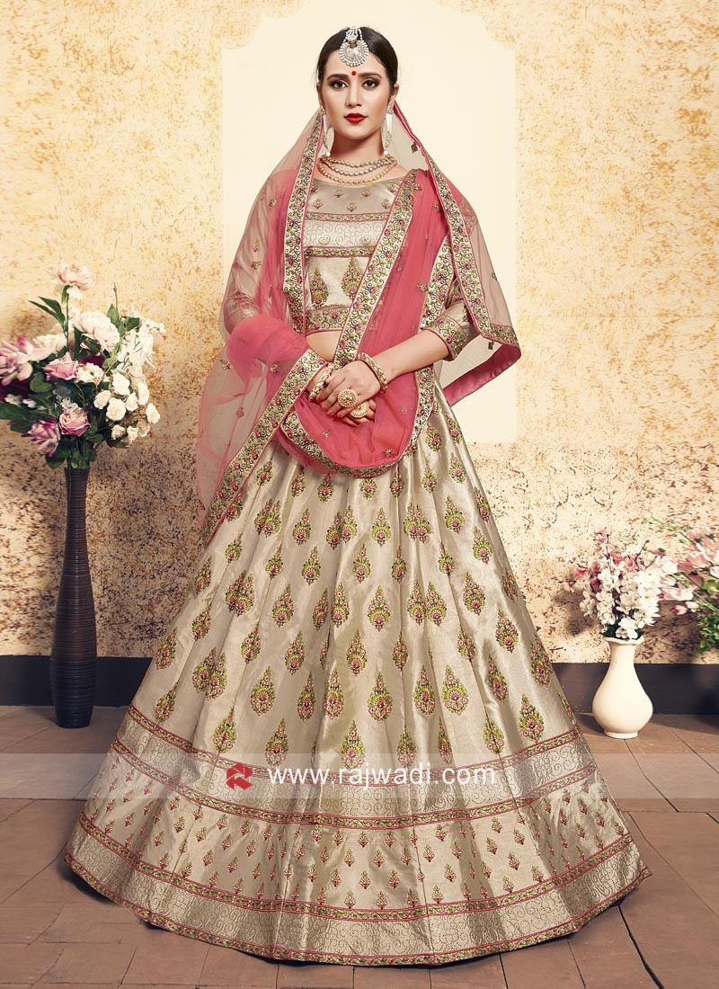 Cream and Pink Satin Lehenga Set