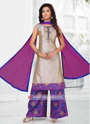 cream and purple color palazzo suit