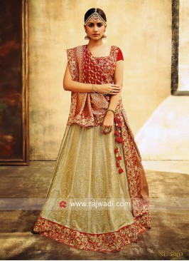 Cream and Red Heavy Lehenga Set