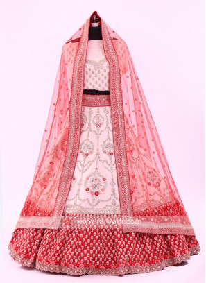 Cream And Red Lehenga Choli