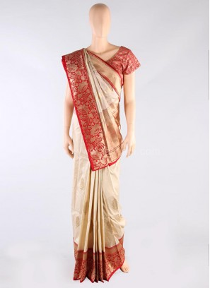 Cream and Red Weaved Saree