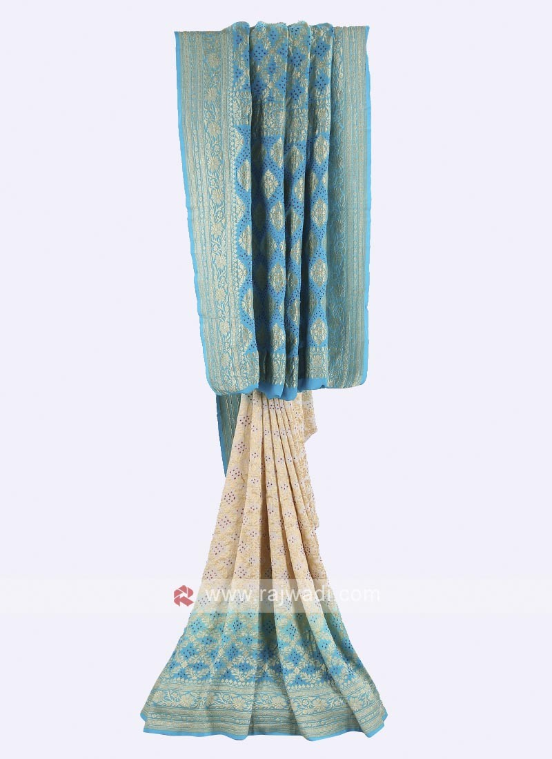 Cream and sky blue chiffon saree