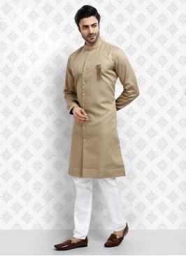 Cream And White Kurta Pajama Set