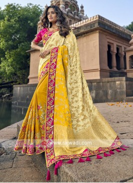 Cream and yellow banarasi silk saree