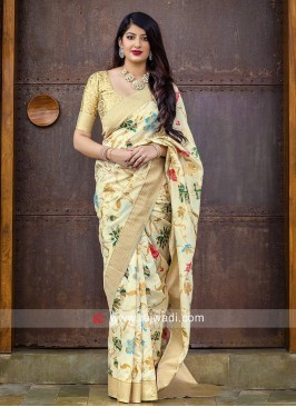 Cream Banarasi Silk Saree