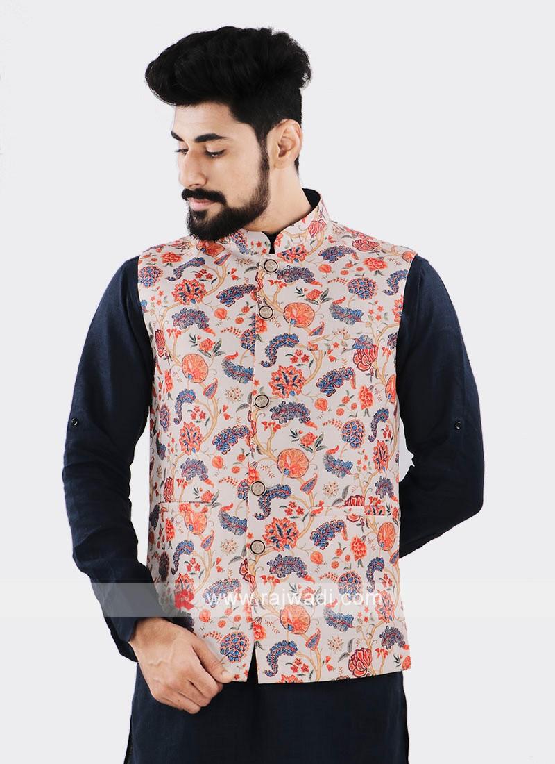 Cream Brocade Silk Printed Nehru Jacket