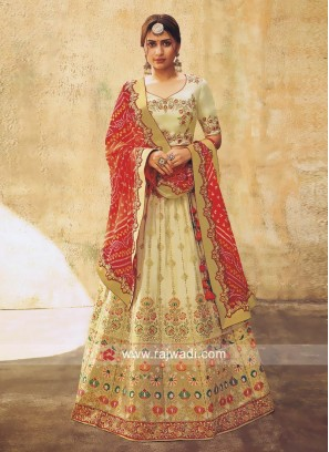 Cream Brocade Woven Lehenga Choli