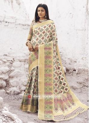 Marvelous Silk Fabric Cream Saree