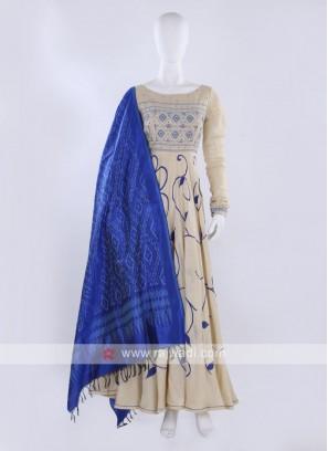 Cream color Anarkali Suit with dupatta