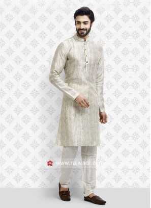 Cream Color Art Silk Fabric Kurta pajama