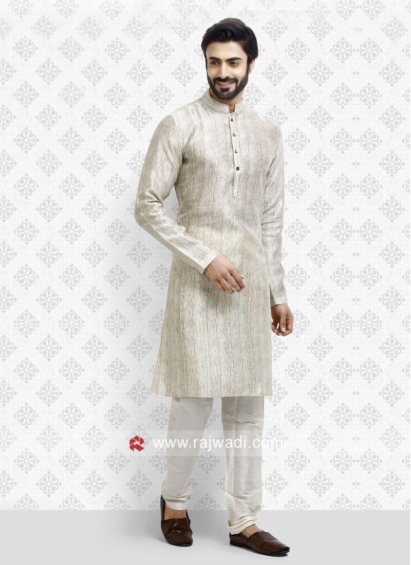 Cream Color Art Silk Fabric Kurta pajama