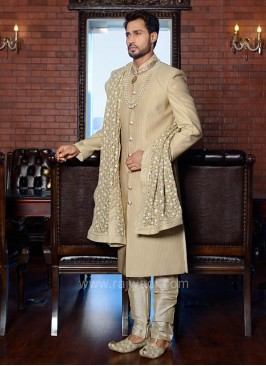 Cream Color Art Silk Sherwani