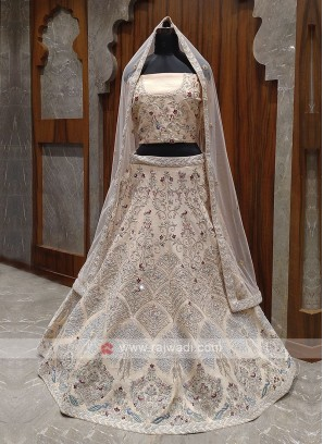 cream color bridal lehenga choli