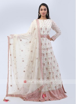 Cream color chiffon anarkali suit