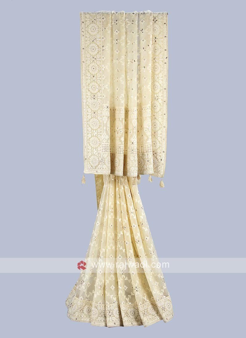 Cream color chiffon saree