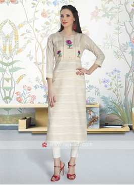 Cream Color Cotton Kurti
