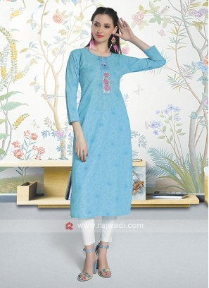 Sky Blue Color Cotton Kurti