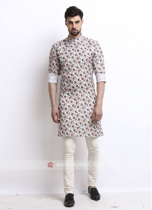 cream color flower printed kurta