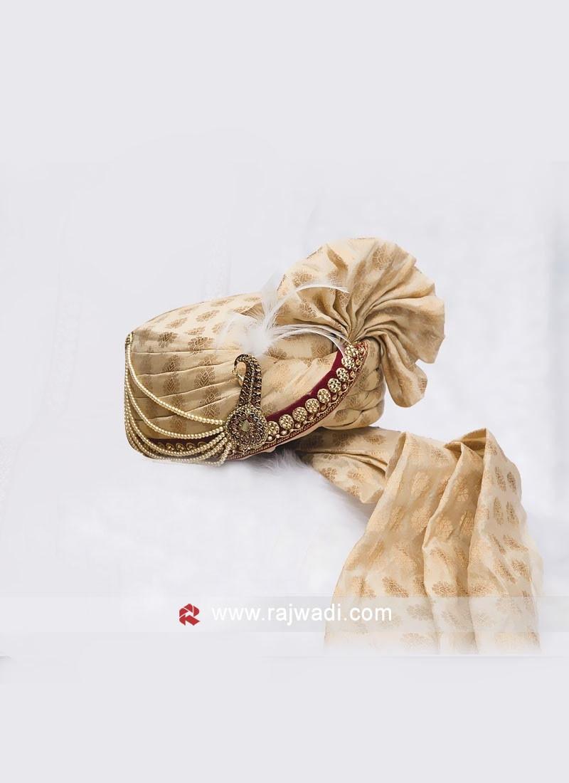 Cream Color Groom Turban