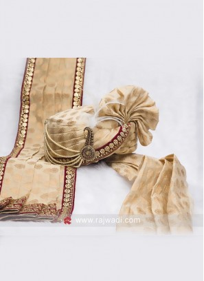 Cream Color Groom Turban And Dupatta