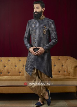Brocade Silk Blue Indo Western