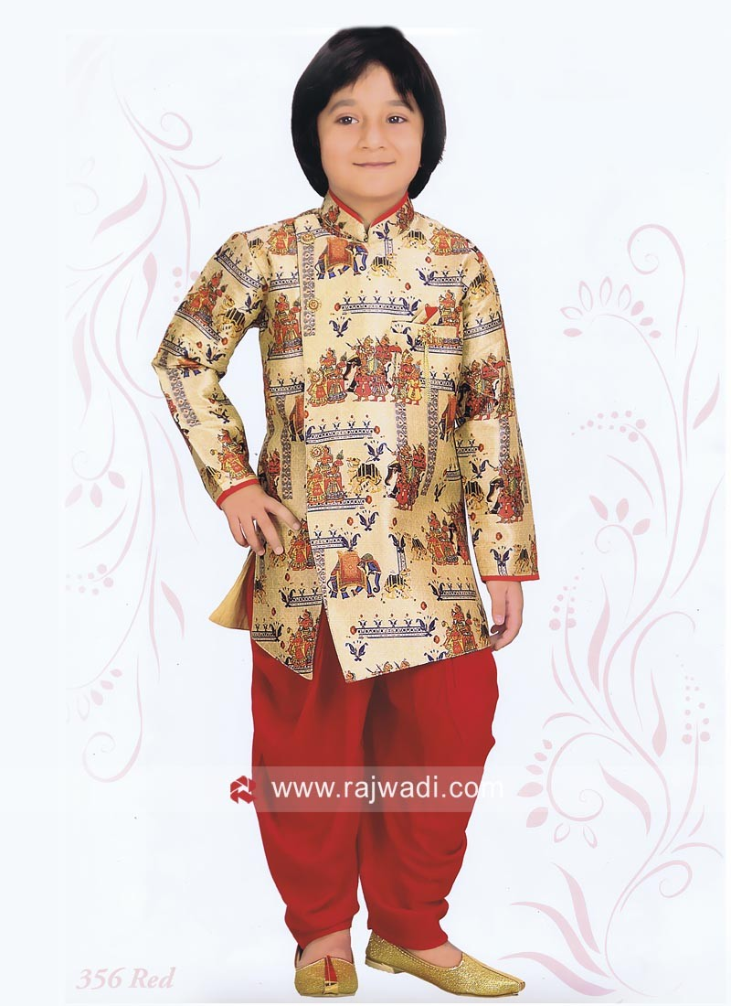 Cream Color Kids Indo Western