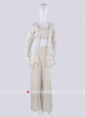 Cream Color Koti Style Palazzo Suit