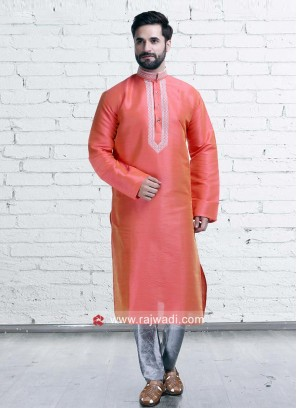 Dark Peach Color Kurta Pajama