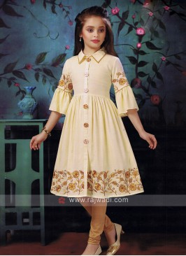 cream color kurti set