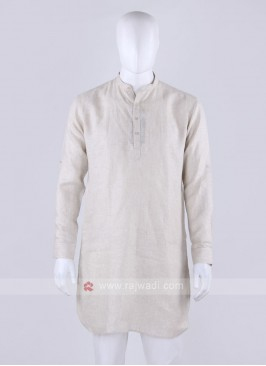cream color linen fabric kurta