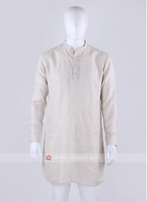 cream color linen fabric kurta