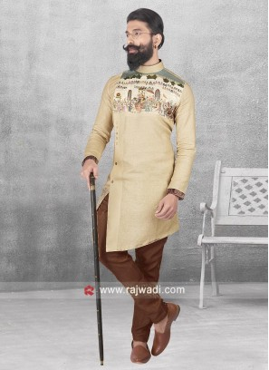 Cream Color Linen Pathani