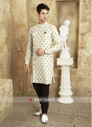 Cream Color Long Sleeve Pathani Suit