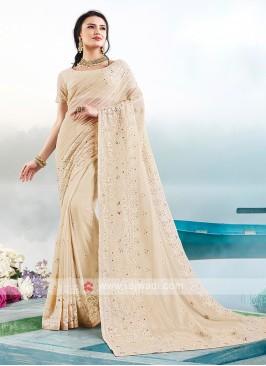 Cream Color Lucknowi Work Saree