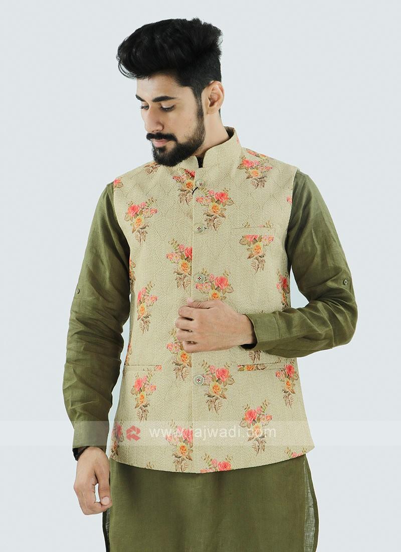 Cream Color Nehru Jacket For Men