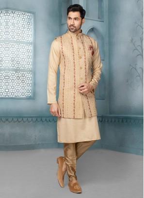 Wedding Wear Cream Color Nehru Jacket Suit