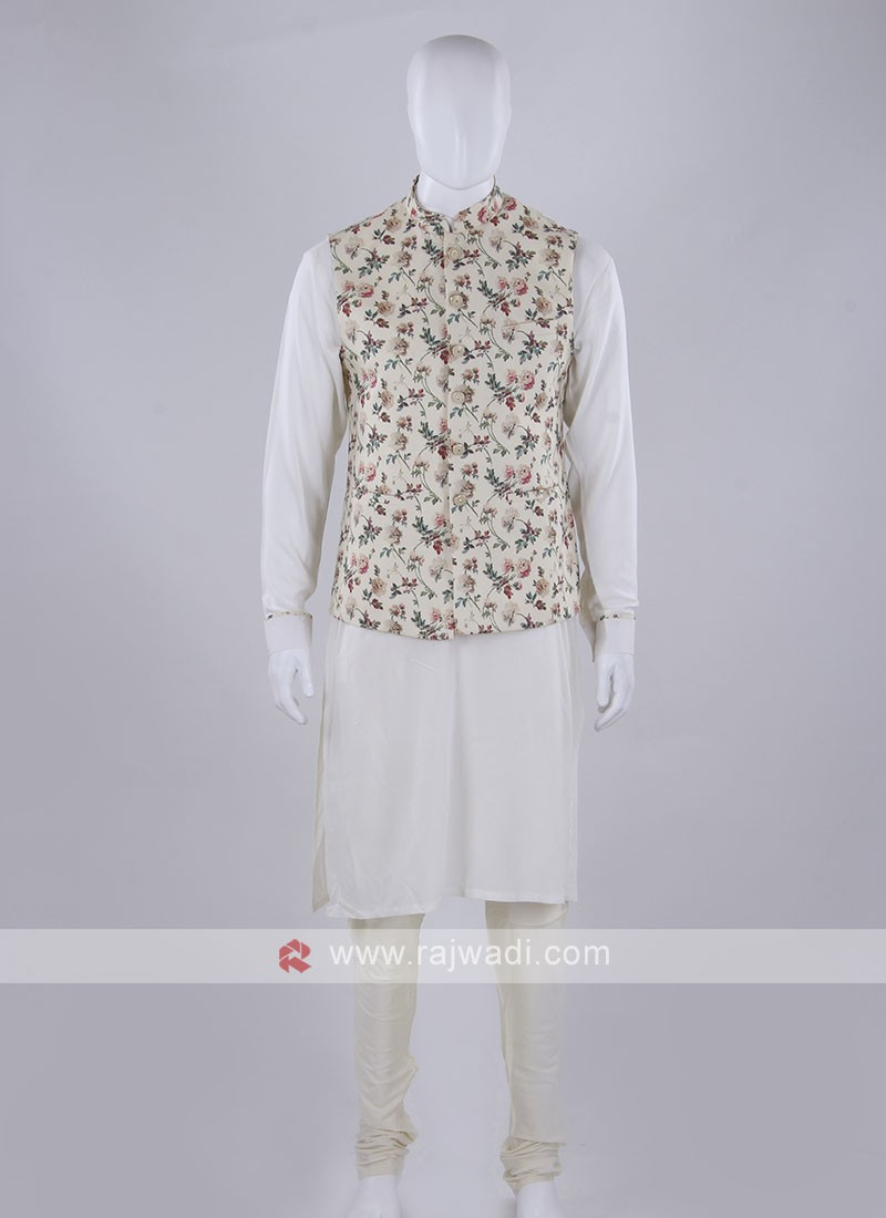Cream color nehru jacket with kurta set