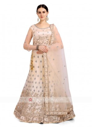 Cream Color Net Lehenga Choli