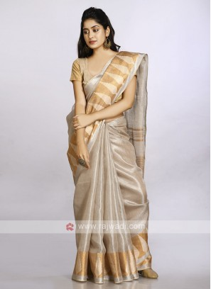 Cream color plain casual saree