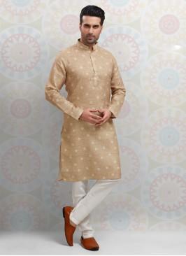 Cream Color Printed Kurta Pajama